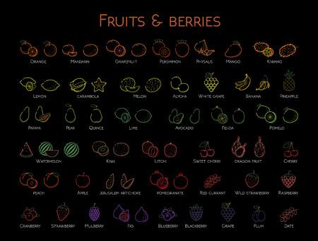 Outline colorful linear web icon set - Fruit & berries Thin bold Line food Icons For logo, label Orange banana melon apple, grape, kiwi cherry, peach, fig kiwi, lemon, tropical big collection on black