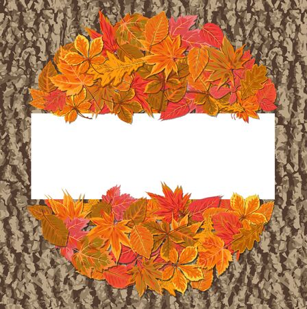 Vector autumn seasonal watercolor style Fall maple, chestnut, alder tree red orange color leaves round wreath border. Nature forest leaf foliage background frame. Natural beauty design on bark texture Ilustração