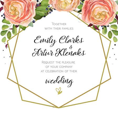 Wedding Invitation Invite Card Design With Watercolor Hand Drawn – Invite Card