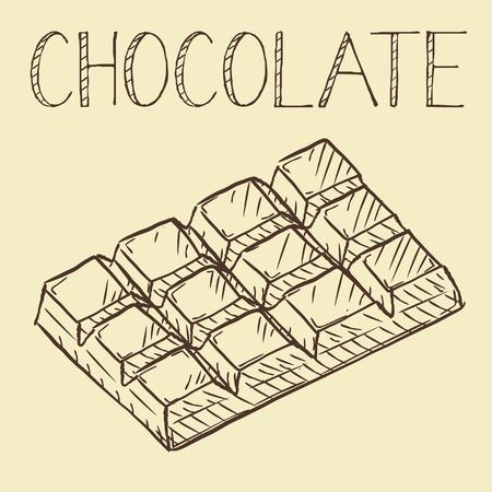 Vector dibujado a mano icono de línea de chocolate, esquema y vector lleno de signo, pictograma lineal y completo aislado, ilustración de señalización Ilustración de vector