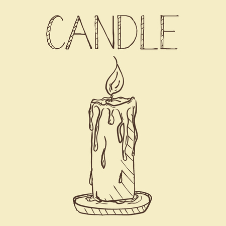 Candlelight Line Art, a hand drawn vector illustration. Perfect for invitations, greeting cards, posters