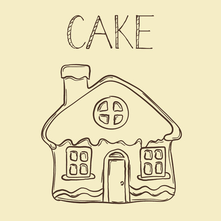 Vector hand drawn Gingerbread house line icon, outline and filled vector sign, linear and full pictogram isolated, signage illustration