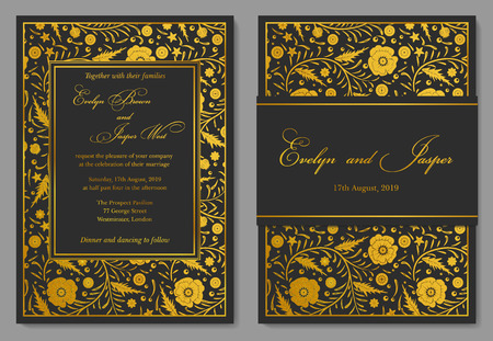 Wedding invitation floral invite card design with golden foil vector wedding invitation floral invite card design with golden foil border frame ornate gold poppy flowers on a black noble background stopboris Image collections