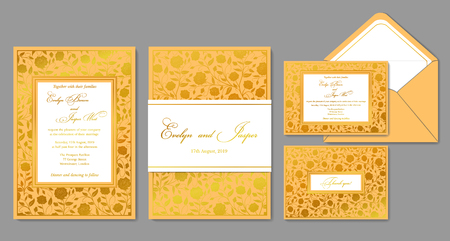 Wedding invite, envelope, rsvp, holiday card, sign. Design with golden roses and patterns in a classic style & golden frame. Vector chic layout.