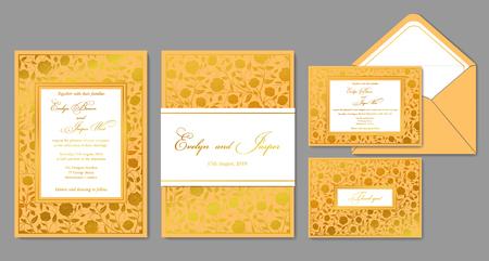 Invitation de mariage, enveloppe, rsvp, carte de vacances, signe. Concevoir avec des roses et des motifs dorés dans un style classique et un cadre doré. Disposition chic de vecteur. Vecteurs