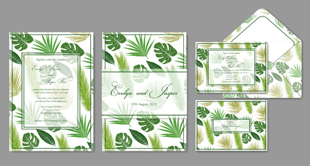 Wedding invite, envelope, holiday card designs with green palm leaves on a white backdrop and frames in summer style.
