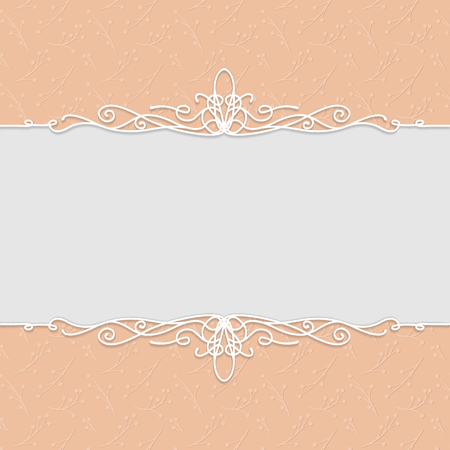 Vector beautiful frame in peach color for wedding invitations, cards, greeting cards, photo frames, certificates. Beautiful backgrounds with frame and swirl.  イラスト・ベクター素材