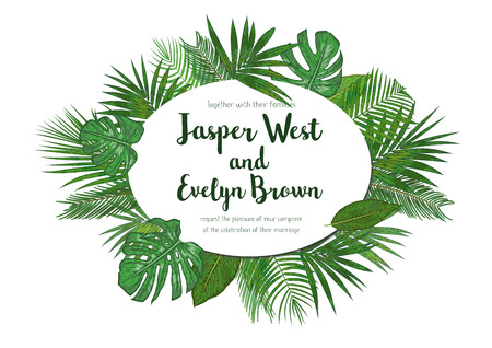 Wedding Invitation, floral invite card Design with green tropical forest palm tree leaves, forest fern greenery simple, with oval frame border. Vector cute garden greeting, copy space  Illustration