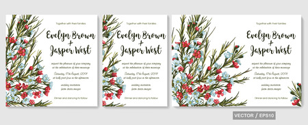 Vector wedding invitations set with red and blue wax flowers (chamaelaucium) on white background. Romantic tender floral design for wedding invitation, save the date and thank you cards. With place for text