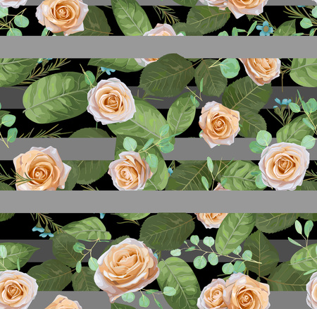 Seamless pattern Vector floral watercolor design: garden cream roses, wax flower silver Eucalyptus. Rustic background stripped gray pale print