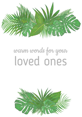 Vertical foliage frame, wedding invitation, label, postcard, save date. Bouquet of green palm leaves, sago, Dieffenbachia, monstera, kentia isolated on white background. watercolor illustration