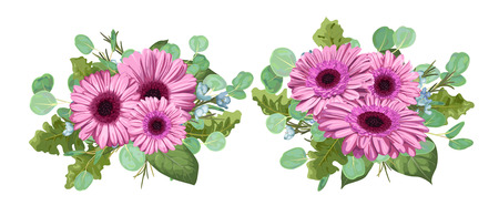 Vector floral bouquet, set composition for wedding invitation, greeting card, design, banner, romantic greeting card. Pink gerbera flowers with eucalyptus leaves and wax flowers isolated on white background. Illustration