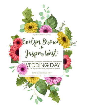 Floral template, wedding invitation, postcard, label, flyer, save date. A square frame with bouquets of flowers of colored gerberas and eucalyptus leaves isolated on white background. Vector illustration