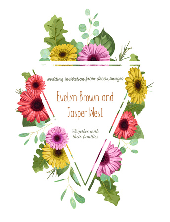 Vector floral pattern, wedding invitation, greeting card, label, flyer, banner. Triangular border framed by colored gerberas and eucalyptus leaves isolated on white background. illustration