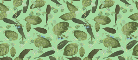 Seamless pattern, background, texture print with light watercolor hand drawn green color,eucalyptus, lily leaves, plants. Tender, elegant textile fabric, wrapping paper backdrop layout