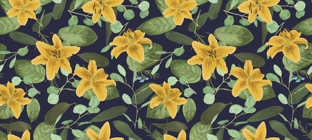 Seamless pattern, texture print with light watercolor styl, green color,eucalyptus, yellow lily, plants,blue background. Tender, elegant textile fabric, wrapping paper backdrop layout