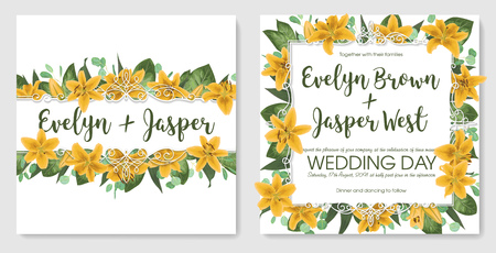 Set wedding invitation cards, invite a card. Vector watercolor style, forest greens, greens, eucalyptus, yellow lilly, botanical green. Horizontal exquisite white frame. Good model
