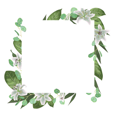 Vector card floral design with green watercolor, herbs, leaves eucalyptus, white lily, botanical green, decorative frame, square. Cute greeting, postcard template, wedding invite
