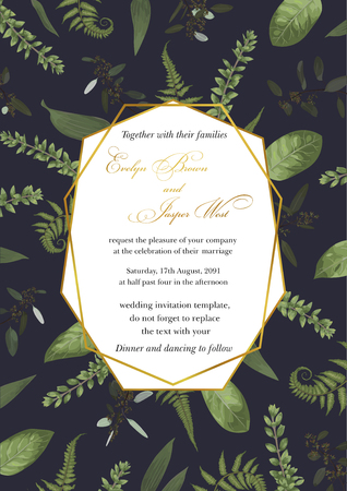Wedding floral invitation, invite card. Vector watercolor style, forest fern, branches boxwood, buxus, vertical geometric golden frame. Pattern on a blue background