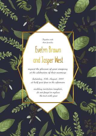 Watercolor vector geometric golden frame on a black background with green leaves of a forest fern, boxwood and eucalyptus branches. For invitations, postcards, posters, certificates, web, labels and other. 일러스트