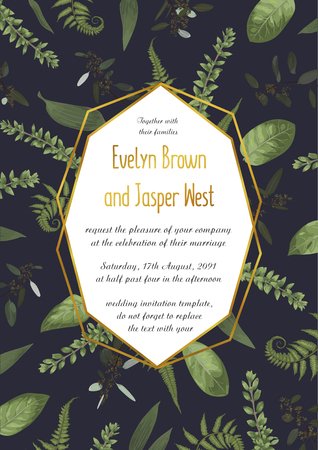 Design watercolor vector geometric golden frame on a black background with leaves of forest fern, boxwood and eucalyptus branches. Can be used for wedding invitations, postcards, posters, certificates, web design 일러스트