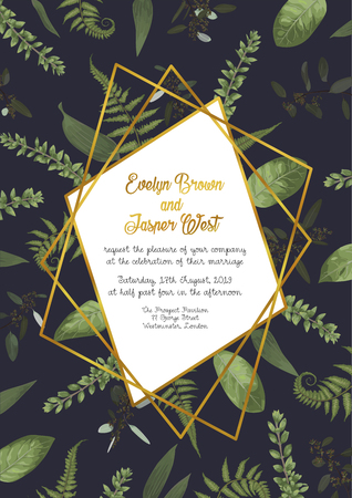 Festive vector luxury golden frame on a black background with leaves of forest fern, boxwood and eucalyptus branches. Can be used for wedding invitations, postcards, posters, certificates, web design