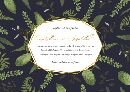 Vector polygonal gold frame with leaves of a forest fern, boxwood and eucalyptus branches on a black background. Suitable for wedding invitations, postcards, posters, certificates, web