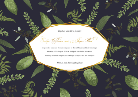 Vector geometric golden frame with green leaves of a forest fern, boxwood and eucalyptus on a black background. Pattern for wedding invitations, greeting cards, banners, certificates and labels. Horizontal