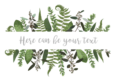Vector illustration of a frame with green leaves of a forest fern, boxwood and eucalyptus. Pattern for wedding invitations, greeting cards, banners, certificates and labels. Horizontal 일러스트