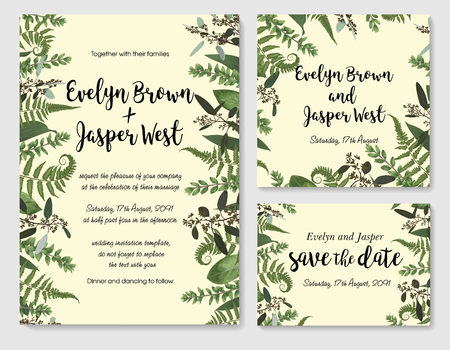Set of vector wedding invitation, greeting card, save date. Frame of green leaves of fern, boxwood and eucalyptus twigs. Watercolor, rustic style