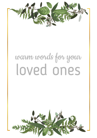 Decorative golden rectangular frame with eucalyptus, fern and boxwood branches isolated on white. For wedding invitations, vignettes, postcards, posters, documents, diplomas. Vertical