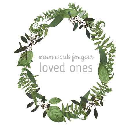 Beautiful leafy frame wreath of eucalyptus, fern and boxwood branches isolated on white. For wedding invitations, vignettes, postcards, posters, labels