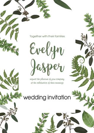 Wedding invite invitation card vector floral greenery design. Fern, eucalyptus, boxwood, botanical green, decorative square. Postcard template