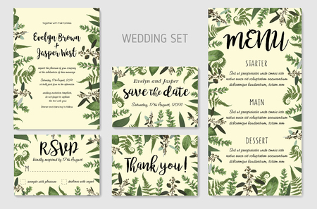 Wedding Invitation, floral invite, thank you, rsvp card Design: green fern leaves greenery, eucalyptus and boxwood branches, forest foliage decorative frame print. Vector elegant watercolor rustic template