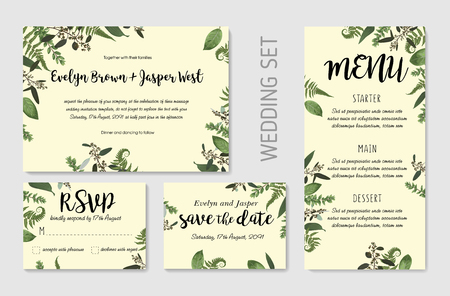 Wedding invite, invitation menu rsvp thank you card vector floral greenery design: Forest fern frond, Eucalyptus and boxwood branch green leaves foliage frame border. Watercolor template set