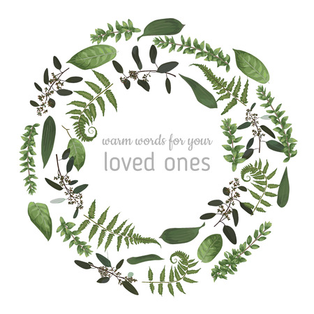Green vector wreath frame made from twigs and leaves of eucalyptus, boxwood and fern isolated on white background. For wedding invitations, postcards, posters, vignettes