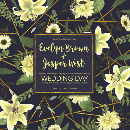 Wedding floral invitation, invite card. Vector watercolor , green forest leaf, fern, branches, buxus, eucalyptus. Flowers of white lily, gerbera, dahlia. Decorative square frame, border. Blue background with golden lines