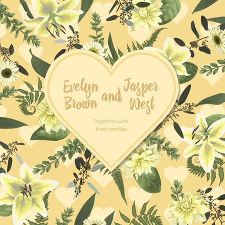 Wedding floral invitation, valentine card. Vector , green forest leaf, fern, branches, buxus, eucalyptus. Flowers of white lily, gerbera, dahlia. Decorative heart frame, border. Pattern on a yellow background 일러스트