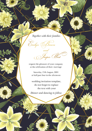 Wedding floral invitation, invite card. Vector watercolor , green forest leaf, fern, branches, buxus, eucalyptus. Flowers of white lily, gerbera, dahlia. Decorative geometric frame vertical. Blue background with golden line 일러스트
