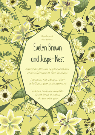 Wedding floral invitation, invite card. Vector watercolor , green forest leaf, fern, branches, buxus, eucalyptus. Flowers of white lily, gerbera, dahlia. Decorative geometric frame vertical. Yellow background with green line