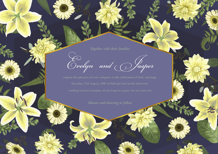 Wedding floral invitation, invite card. Vector watercolor , green forest leaf, fern, branches, buxus, eucalyptus. Flowers of white lily, gerbera, dahlia. Decorative geometric horisontal frame. Background with blue gradient 일러스트
