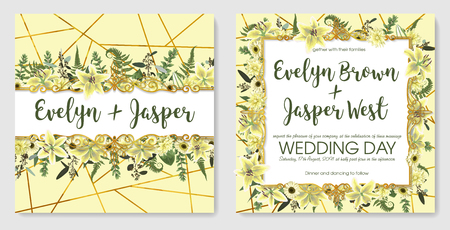 Set for wedding invitation, greeting card, save date, banner. With green forest leaf, fern, branches, buxus, eucalyptus. Flowers of white lily, gerbera, dahlia. Yellow background with golden line
