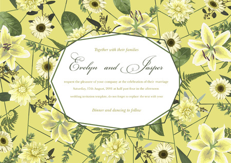 Wedding floral invitation, invite card. Vector watercolor , green forest leaf, fern, branches, buxus, eucalyptus. Flowers of white lily, gerbera, dahlia. Decorative geometric frame horizontal. Yellow background with green line