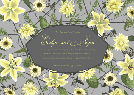 Wedding floral invitation, invite card. Vector watercolor , green forest leaf, fern, branches, buxus, eucalyptus. Flowers of white lily, gerbera, dahlia. Decorative geometric frame horizontal. Gray background with line 일러스트