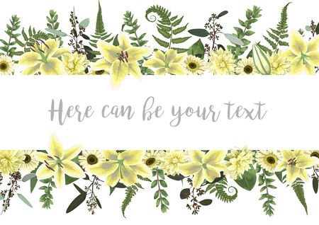 Vector illustration of a frame with green forest leaf, fern, branches, buxus, eucalyptus. Flowers of white lily, gerbera, dahlia. Wedding invitations, greeting cards, banners, certificates and labels. Horizontal 일러스트