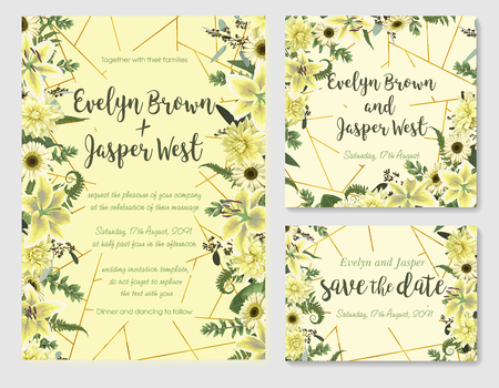 Set of vector wedding invitation, greeting card, save date.  With green forest leaf, fern, branches, buxus, eucalyptus. Flowers of white lily, gerbera, dahlia. On yellow background with golden line Ilustração