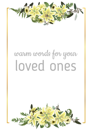 Decorative golden rectangular frame with green forest leaf, fern, branches, buxus, eucalyptus. Flowers of white lily, gerbera, dahlia. For wedding invitations, postcards, posters, documents, diplomas. Vertical template