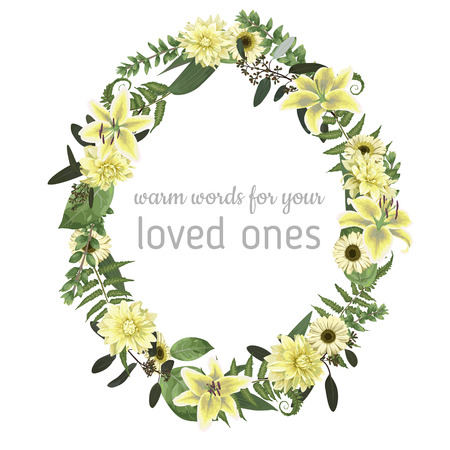 Floral card with forest leaf, fern, branches, buxus, eucalyptus. Flowers of white lily, gerbera, dahlia. Greenery oval frame for wedding, birthday, party. Vector illustration watercolor style