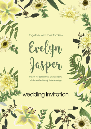 Wedding invite invitation card vector floral with forest leaf, fern, branches, buxus, eucalyptus. Flowers of white lily, gerbera, dahlia. Decorative square. Postcard template