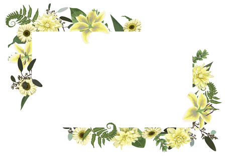 Vector card floral design with forest leaf, fern, branches, buxus, eucalyptus. Flowers of white lily, gerbera, dahlia. Decorative horizontal frame, square. Cute greeting, postcard template